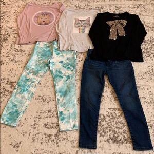 BUNDLE!! 3 Girls Shirts & 2 Jeans Size L 10/12